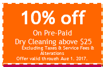 10% Off Dry Cleaning Coupon